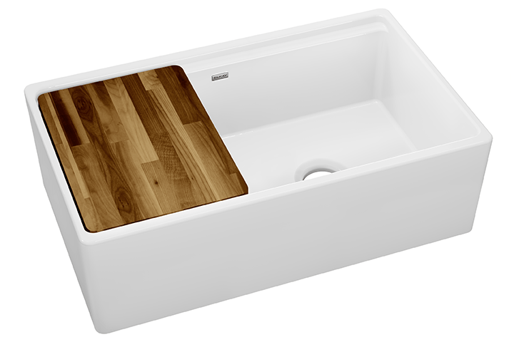 elkay fireclay 33 x 19 15 16 x 9 3 16 60 40 double bowl farmhouse workstation sink with aqua divide white