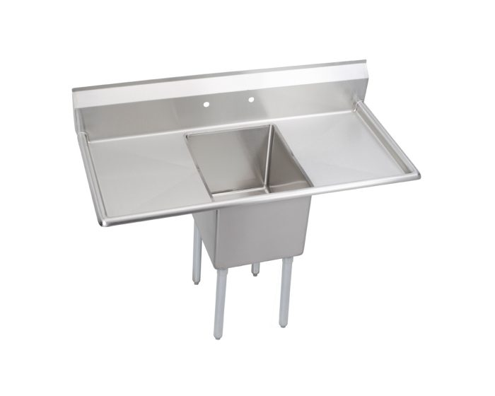 elkay dependabilt stainless steel 52 x 25 13 16 x 43 3 4 16 gauge one compartment sink w 18 left and right drainboards and stainless steel legs