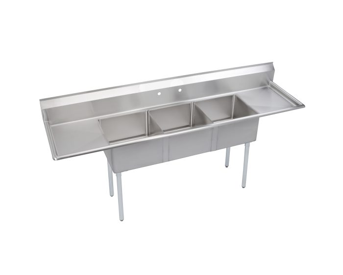elkay dependabilt stainless steel 90 x 23 13 16 x 43 3 4 18 gauge three compartment sink w 18 left and right drainboards and stainless steel legs
