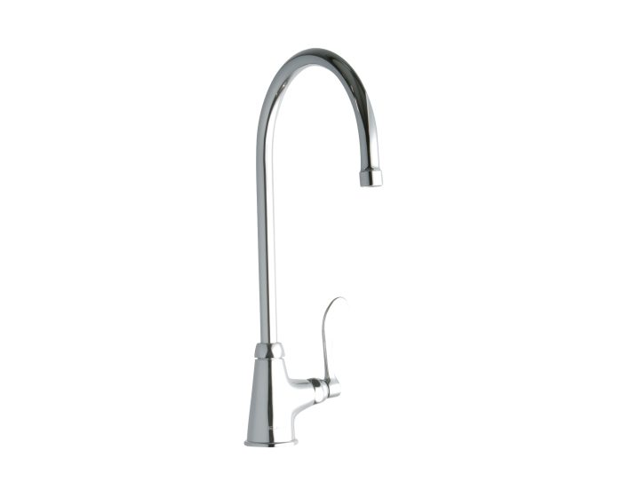 elkay single hole with single control faucet with 8 gooseneck spout 4 wristblade handle chrome