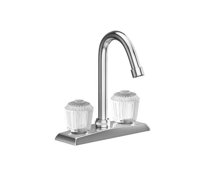 elkay 4 centerset deck mount faucet with gooseneck spout and clear crystalac handles chrome