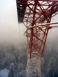 Zugspitze Seilbahn Abfahrt Mast