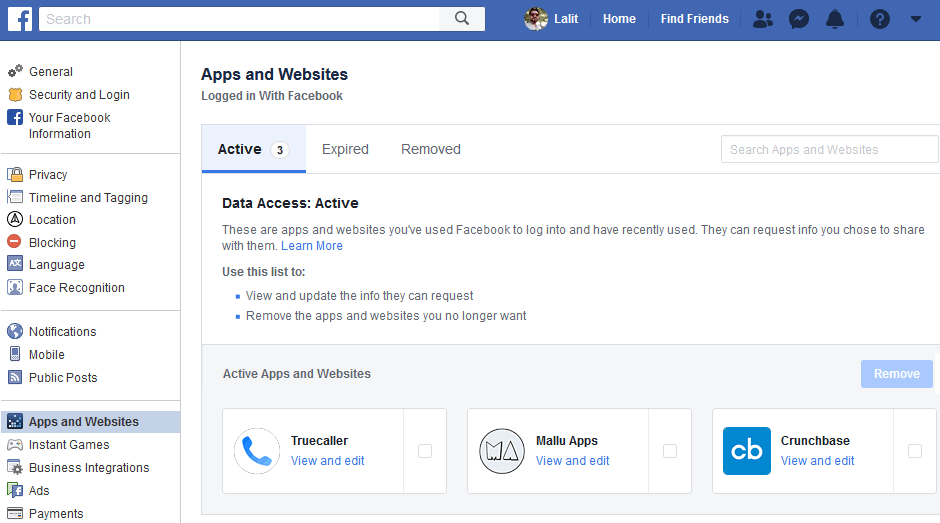 disconnect third party apps from facebook