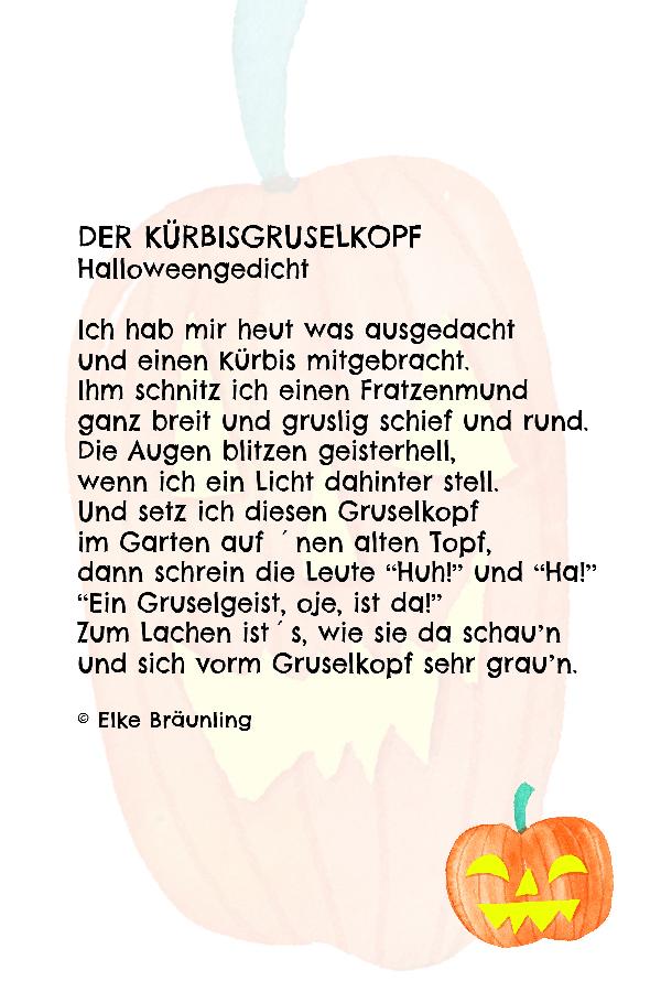Der Kürbisgruselkopf. Herbstgedicht für Kinder