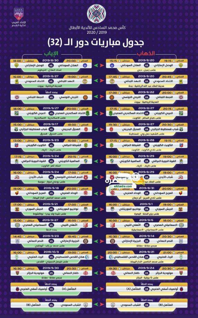 مواعيد مباريات دور الـ32 من البطولة العربية 25