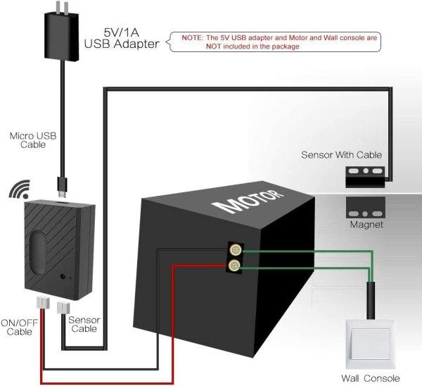 WiFi garasjeportåpner med støtte for Alexa/Siri/Google Home/IFTTT garasjeportåpner5