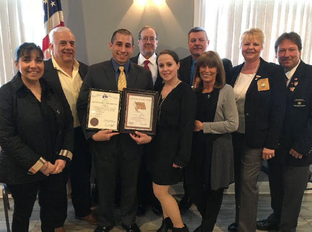 Watchung Hills Elks Lodge #885 Citizen of the Year for 2018 is Eric Task-with his parents-fiancé and Watchung Hills Officers and District Americanism Chairman