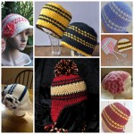 Free Hounds Tooth Hat Pattern Collage (Made by You- the Crocheters)