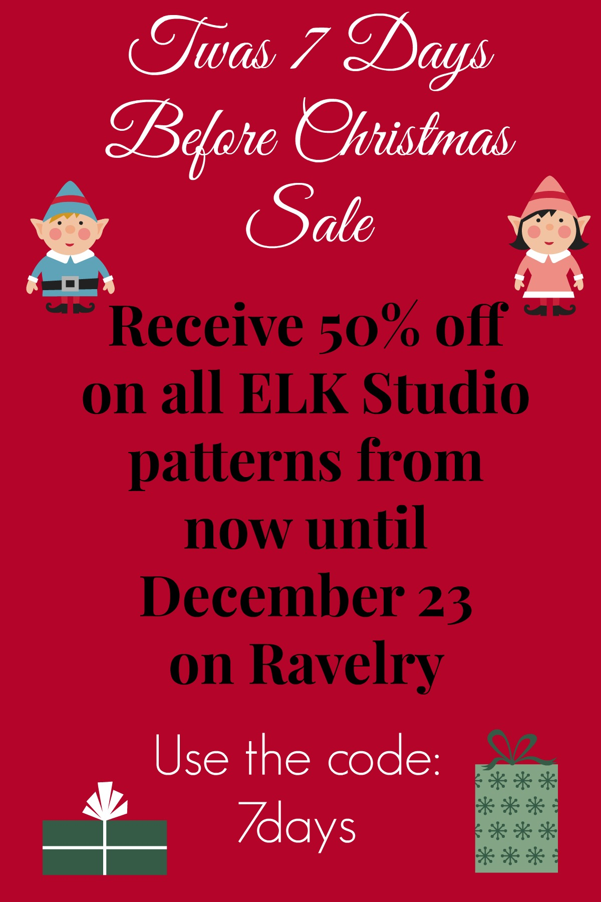 you can find the pattern on ravelry and you will receive the discount at checkout by using the code 7days 7 days before christmas - How Many Days Before Christmas