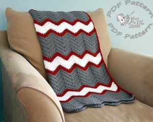 KT and the Squid Chevron Blanket