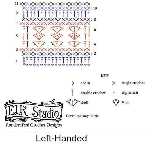 Original Stitch Diagram Southern Diamonds Wrap left handed
