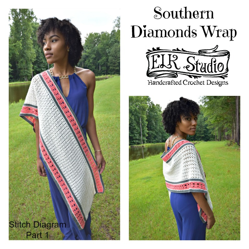 Southern Diamonds Wrap by ELK Studio - A Free Crochet Pattern Stitch Diagram Part 1