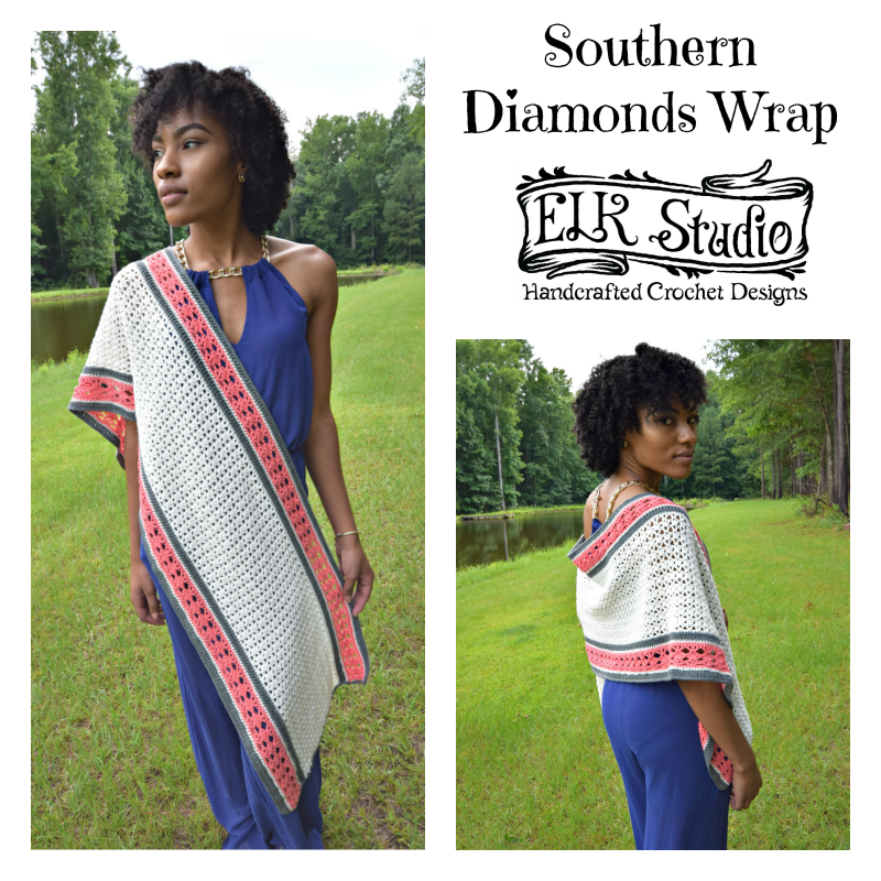 Southern Diamonds Wrap CAL/Week 4 by ELK Studio - A Free Crochet Pattern