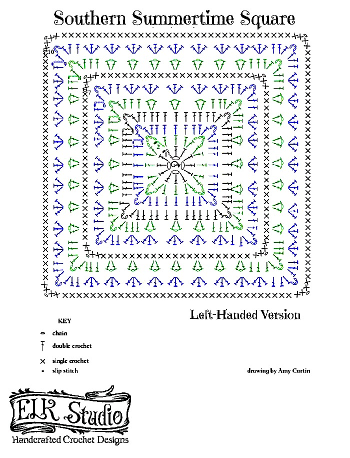 Southern Summer Square Stitch Diagram Left-Handed by ELK Studio A FREE Pattern