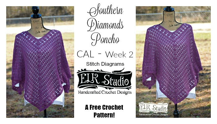 Southern Diamonds Poncho Stitch Diagrams Rounds 1-15
