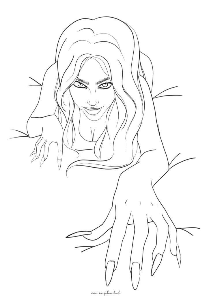 gruselige Frau Vampir kriechen halloween