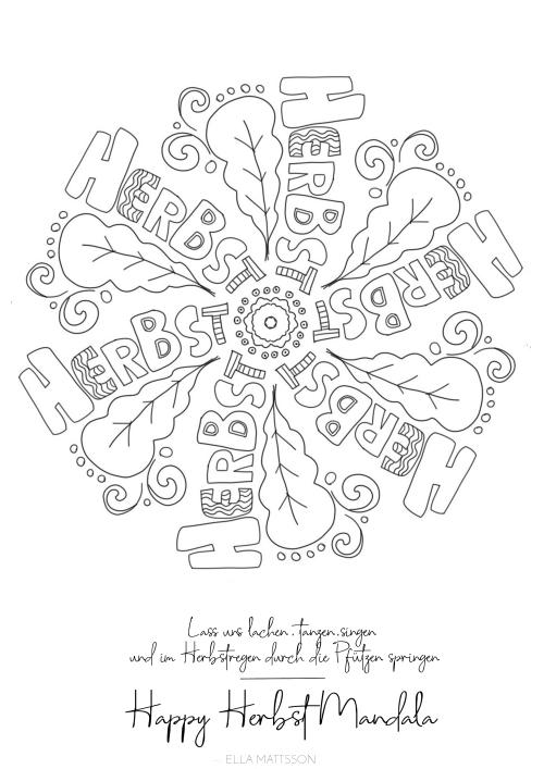 happy herbst mandala ausmalbild