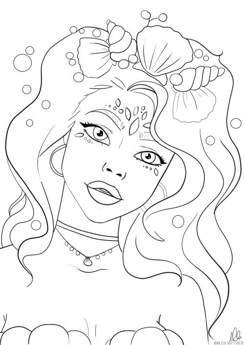 Ausmalbild Meerjungfrau ´Rosa`