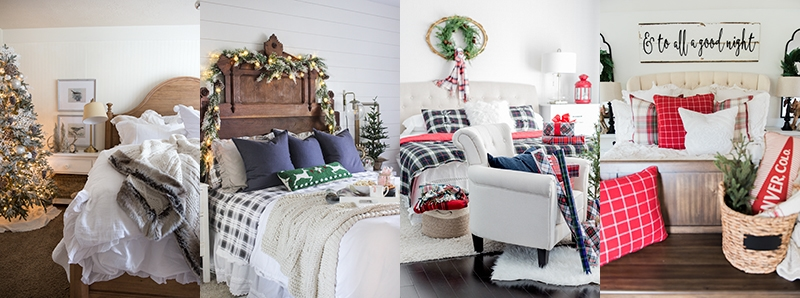 A Cozy Cheerful Farmhouse Christmas Bedroom