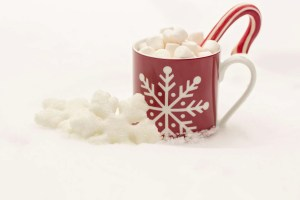 candy cane in snowflake mug