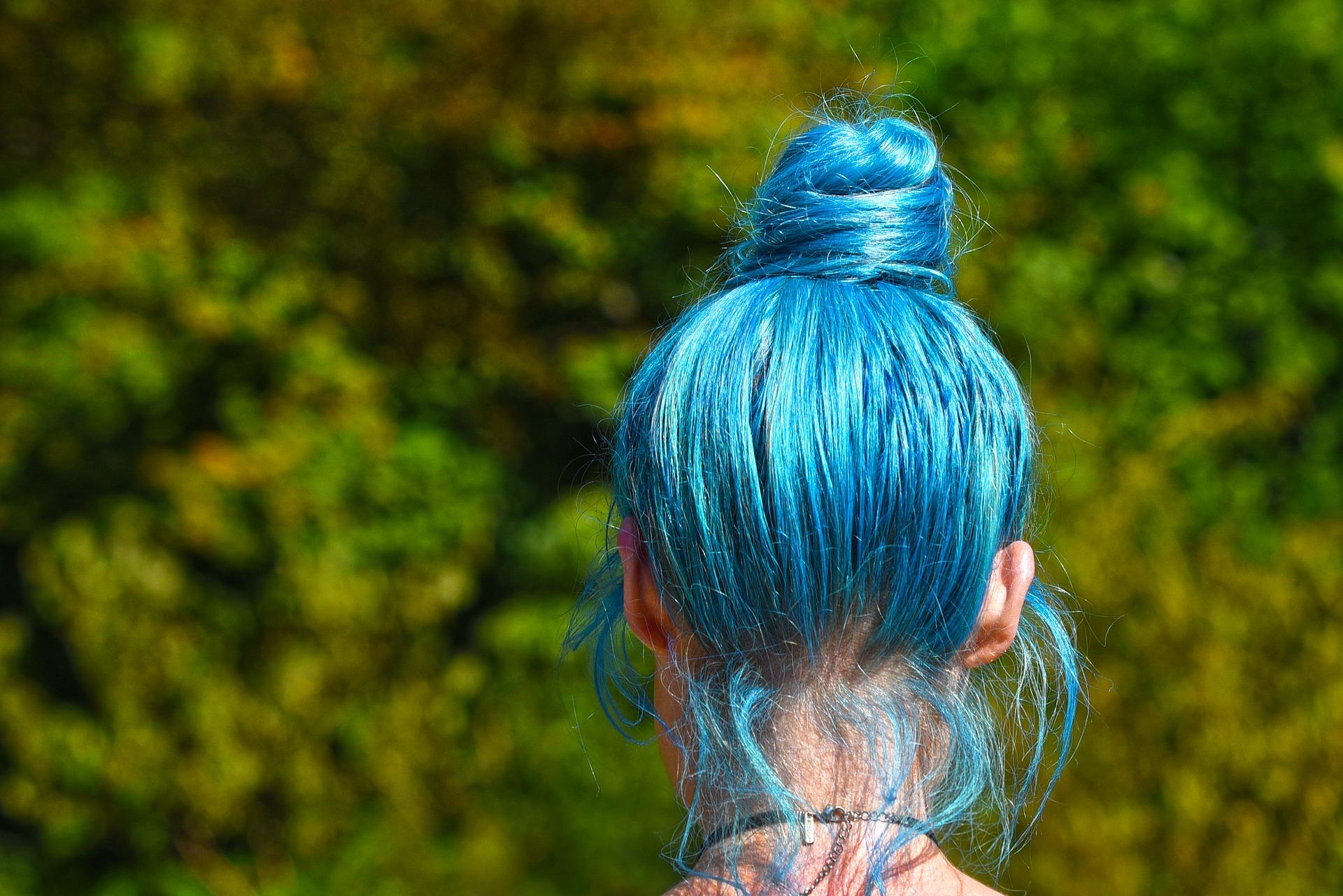blue-coloured hair