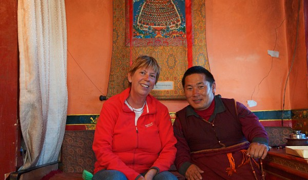 Posing with a monk at Chimpuk Hermitage, October 2013