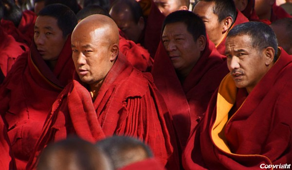 Special ceremony at Sera Monastery, Lhasa: monks watching the ceremony