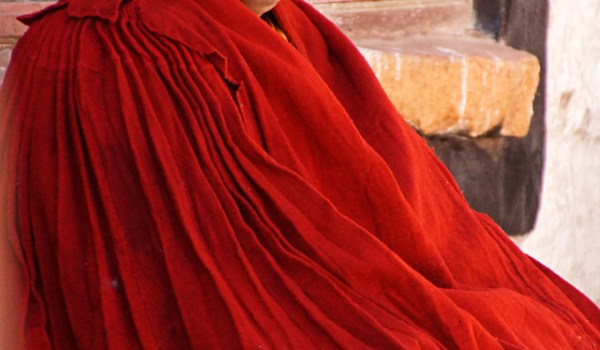 Special ceremony at Sera Monastery, Lhasa: the monk, who passed the highest exams was at first seated at the side, waiting