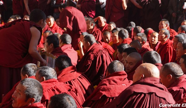 Special ceremony at Sera Monastery, Lhasa: monks pour in the butter tea