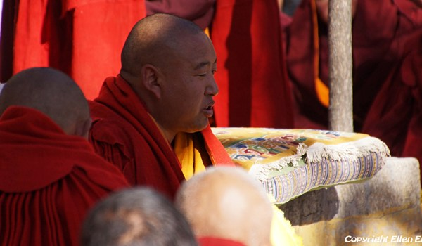 Special ceremony at Sera Monastery, Lhasa: the monk, who passed the highest exams debating