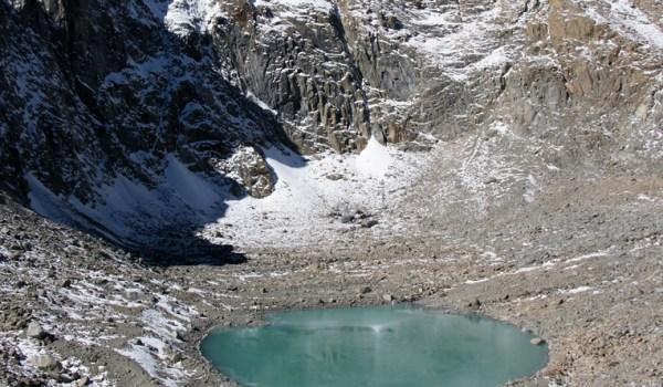 Day 2 of the kora: the Gauri Kund lake just below Drolma La pass at 5.608m (2010)