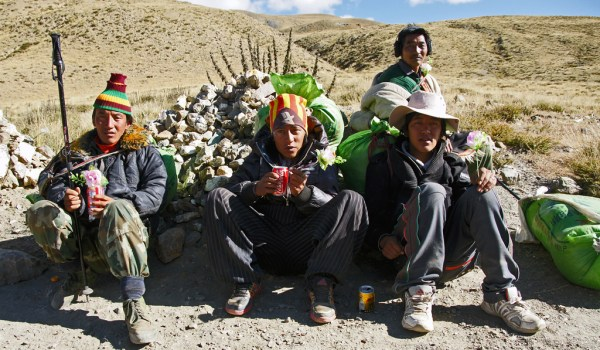 Day 3 of the kora: porters having a rest at (almost) the end of the kora (2011)