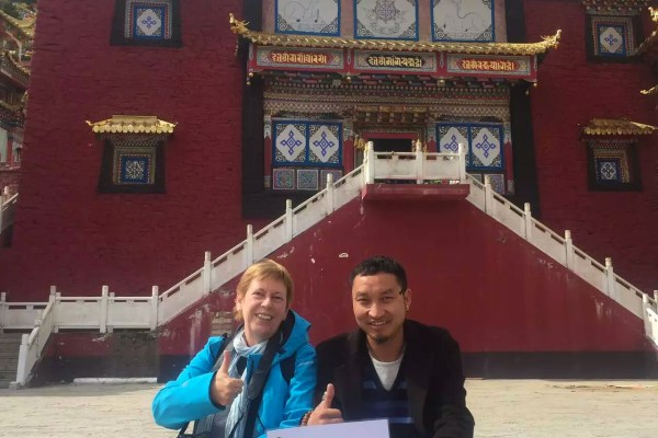 With my guide at Tushe Monastery, Qianzu