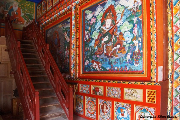 Inside the monastery high above the town of Guanyinqiao