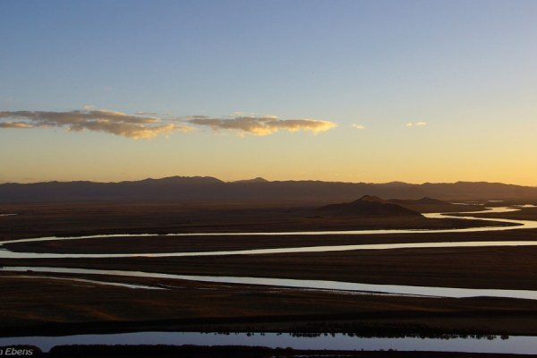 Sunset at the nine bends of the Machu River (Yellow River) near the town of Tangke