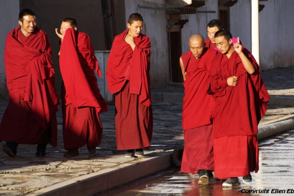 Monks walking the street at Labang Monastery, Xiahe