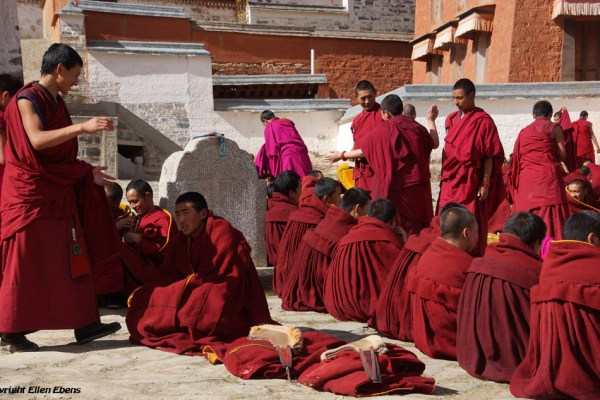 Labrang Monastery, Xiahe: monks debating at the court yard