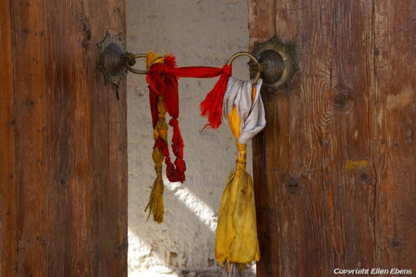 Door at the entrance of Rgasar monastery near Rebkong (Tongren)