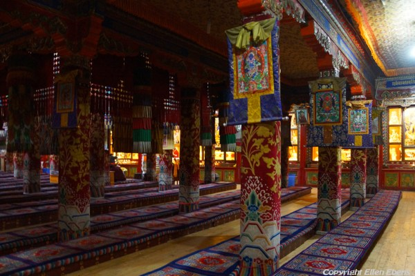 Inside an assembly hall at Rongwu Monastery