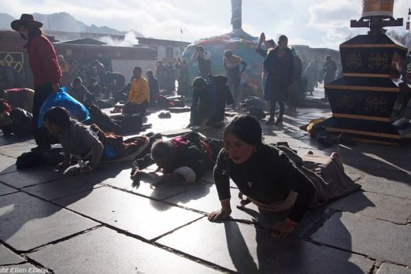 Lhasa, prostrating pilgrims at the Barkhor