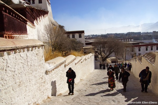 Lhasa, climbing up the stairs of the Potala Palace