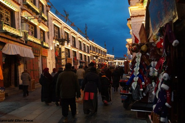 Lhasa, Barkhor Street by nightfall