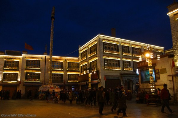 Lhasa, Barkhor Street by nightfall
