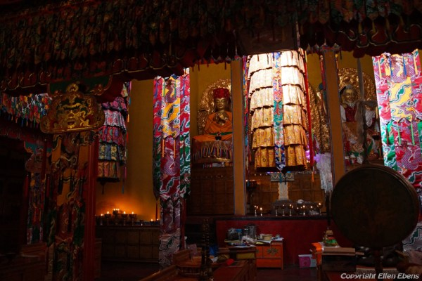 Inside the chapel of a small monastery near Gonkar Airport