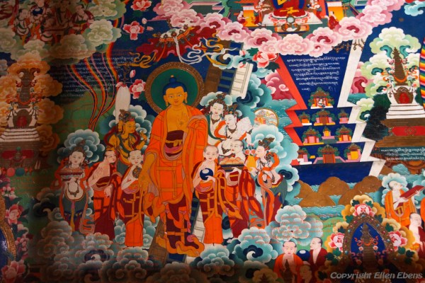 Murals Inside Thandruk Monastery. On this mural the the Buddha and his disciples are depicted.