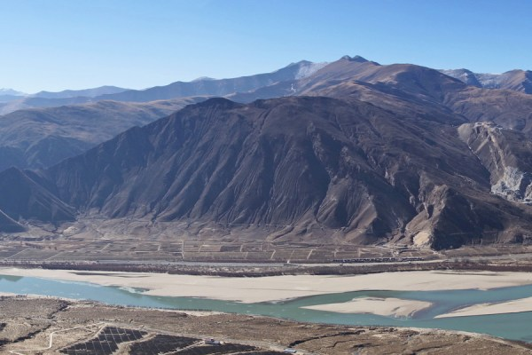 View from the road climbing to Densatil Monastery on the Yarlung Tsangpo Valley