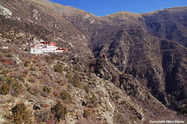 View on Densatil Monastery while walking to the monastery after parking the car