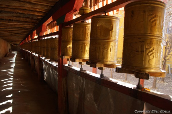 Prayer wheels at Chimpuk Hermitage