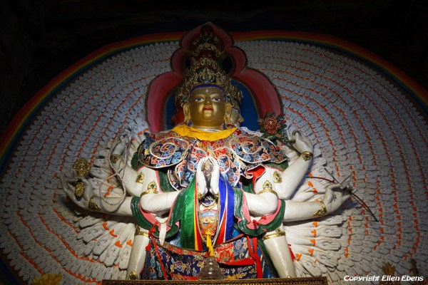 Statue of Avalokiteshvara with thousand arms and thousands eyes