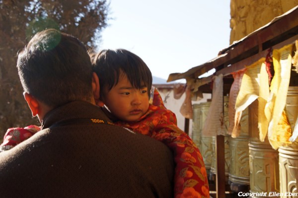 Father with daughter at Dorje Drak Monastery